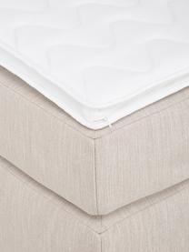 Boxspringbett Enya ohne Kopfteil in Beige, Matratze: 5-Zonen-Taschenfederkern, Füße: Kunststoff, Webstoff Beige, 200 x 200 cm