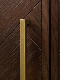 Visgraat barkast Class met acaciahoutfineer, Frame: MDF met acaciahoutfineer, Acaciahoutkleurig, messingkleurig, 100 x 100 cm