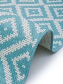 Gemusterter In- & Outdoor-Teppich Miami in Türkis/Weiß, 86% Polypropylen, 14% Polyester, Weiß, Türkis, B 200 x L 290 cm (Größe L)
