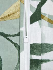 Baumwoll-Bettwäsche Earthy mit Blättermotiv, 100% Baumwolle  Fadendichte 144 TC, Standard Qualität  Bettwäsche aus Baumwolle fühlt sich auf der Haut angenehm weich an, nimmt Feuchtigkeit gut auf und eignet sich für Allergiker, Grün- und Brauntöne, Weiß, 155 x 220 cm + 1 Kissen 80 x 80 cm