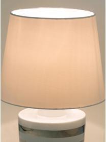 Keramik-Tischlampe Sylvia, Lampenschirm: Textil, Lampenfuß: Keramik, Weiß, Silberfarben, Ø 25 x H 39 cm