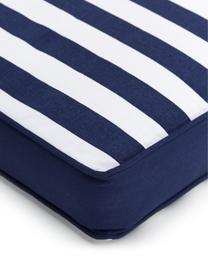 Gestreept stoelkussen Timon in donkerblauw/wit, Blauw, 40 x 40 cm