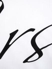 Komplet poszewek na poduszki z perkalu Mr&Mrs, 2 elem., Biały, czarny, S 40 x D 80 cm