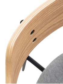 Polsterstühle Olympia mit Rückenlehne aus Holz, 2 Stück, Sitzfläche: Textil, Rückenlehne: Sperrholz mit Eichenfurni, Rahmen: Metall, Grau, Eiche, B 52 x T 49 cm