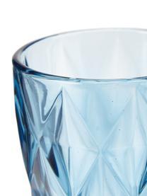 Wassergläser Colorado mit Strukturmuster, 4 Stück, Glas, Blau, Transparent, Ø 8 x H 10 cm