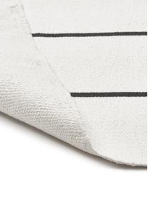 Vlak geweven katoenen vloerkleed David met lijnen, handgemaakt, 100% katoen, Crèmewit, zwart, B 200 x L 300 cm (maat L)