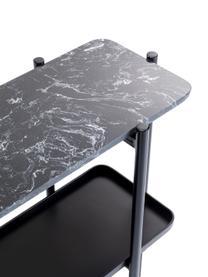 Konsole Bennet mit Marmorplatte, Platte: Marmor, Gestell: Stahl, lackiert, Schwarz, 120 x 72 cm