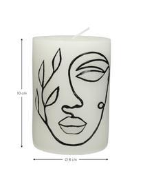 Bougie décorative Face, Blanc, noir