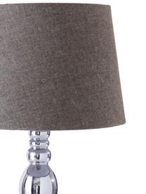 Lampada da tavolo con paralume in cotone Brighton, Paralume: cotone, Base della lampada: metallo verniciato, Grigio, cromato, Ø 25 x Alt. 52 cm