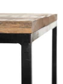 Komplet stolików kawowych z drewna mangowego z metalowym stelażem Carol, 2 elem., Blat: drewno mangowe, Stelaż: metal lakierowany, Brązowy, czarny, Komplet z różnymi rozmiarami