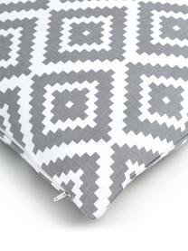 Kussenhoes Miami in lichtgrijs/wit, 100% katoen, Grijs, 45 x 45 cm