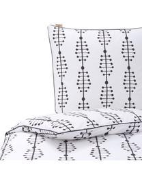 Baumwoll-Bettwäsche Lines and Dashes mit grafischem Muster, Webart: Renforcé Renforcé besteht, Weiß, Anthrazit, 155 x 220 cm + 1 Kissen 80 x 80 cm