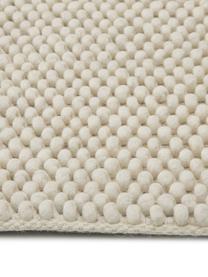 Handgestikte wollen vloerkleed My Loft in ivoorkleur gevlekt, Bovenzijde: 60% wol, 40% viscose, Onderzijde: katoen, Ivoorkleurig, B 160 x L 230 cm (maat M)