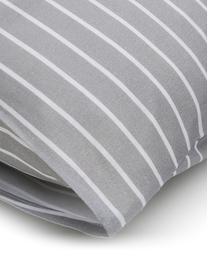 Dubbelzijdig dekbedovertrek Besso, Katoen, Bovenzijde: grijs, wit. Onderzijde: wit, 140 x 200 cm + 2 kussen 60 x 70 cm