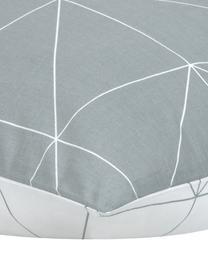 Baumwoll-Wendekissenbezüge Marla mit grafischem Muster, 2 Stück, Webart: Renforcé Fadendichte 144 , Grau, Weiß, 40 x 80 cm