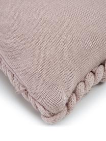 Plaid a maglia grossa rosa cipria Adyna, 100% poliacrilico, Rosa cipria, Larg. 30 x Lung. 50 cm