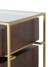 Nachttisch Lyle mit Glasplatte, Ablagefläche: Glas, Mangoholz, dunkel lackiert, 45 x 58 cm