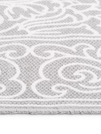 Hangeweven katoenen vloerkleed Salima met patroon en kwastjes, 100% katoen, Lichtgrijs, crèmewit, B 70 x L 140 cm (maat XS)