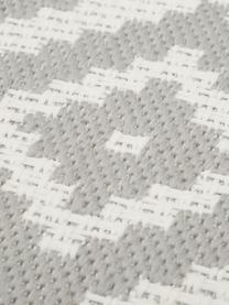 Alfombra de interior/exterior Miami, Parte superior: polipropileno, Reverso: poliéster, Blanco, gris, An 80 x L 250 cm