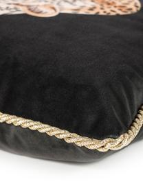 Samt-Wendekissenhülle Deluxe Leo mit goldenem Keder, 100% Polyestersamt, bedruckt, Schwarz, Braun, Weiß, Goldfarben, 40 x 40 cm