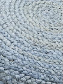 Handgefertigter Pouf Bono aus Jute, Bezug: Jute, Jute, Taubenblau, Ø 50 x H 36 cm