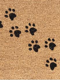 Fußmatte Paws, Oberseite: Kokosfaser, Unterseite: PVC, Braun, Schwarz, 45 x 75 cm