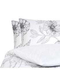 Pościel z perkalu Keno, Biały, szary, 240 x 220 cm + 2 poduszki 80 x 80 cm