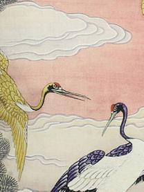Samt-Kissen Storcks mit Print, mit Inlett, Polyestersamt, Mehrfarbig, 45 x 45 cm