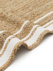 Passatoia in juta tessuta a mano Clover, 100% juta, Beige, bianco, Larg. 80 x Lung. 250 cm