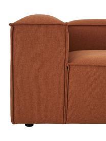 Modulares Sofa Lennon (4-Sitzer) mit Hocker in Terrakotta, Bezug: Polyester Der hochwertige, Gestell: Massives Kiefernholz, Spe, Füße: Kunststoff Die Füße befin, Webstoff Terrakotta, B 327 x T 207 cm