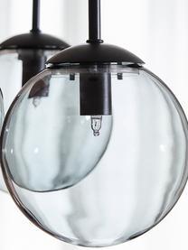 Lampada a sospensione in vetro fumé Edie, Paralume: vetro, Grigio, nero, Larg. 30 x Prof. 30 cm