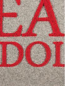 Housse de coussin rectangulaire Noël Rudolph, Gris clair, rouge