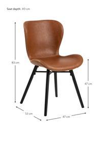 Krzesło tapicerowane ze sztucznej skóry Batilda, 2 szt., Tapicerka: sztuczna skóra (poliureta, Nogi: drewno kauczukowe, powlek, Koniakowy, S 47 x G 53 cm