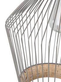 Hanglamp Birdy van rotan en metaal, Lampenkap: rotan, gelakt metaal, Baldakijn: gelakt metaal, Lampenkap: rotan, lichtgrijs. Bevestiging: rubberhoutkleurig, Ø 31 x H 48 cm