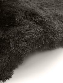 Glanzend hoogpolig  vloerkleed Jimmy in donkergrijs, Bovenzijde: 100% polyester, Onderzijde: 100% katoen, Donkergrijs, B 80 x L 150 cm (maat XS)