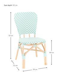 Krzesło ogrodowe Bistrot, Tapicerka: tkanina, Stelaż: rattan, Zielony, biały, S 59 x G 52 cm