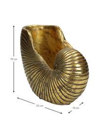 Plantenpot Shell, 15% polyresin, 35% acryl, 25% polyester, 25% kwartszandvulling, Goudkleurig, 25 x 19 cm