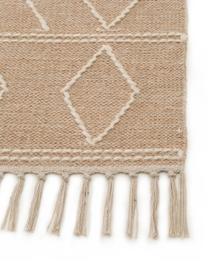 Handgeweven boho vloerkleed Sydney met franjes, 60% katoen, 40% wol, Beige, crèmekleurig, B 120 x L 170 cm (maat S)