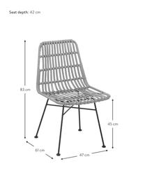 Sedia intrecciata Costa 2 pz, Seduta: intreccio in polietilene, Struttura: metallo verniciato a polv, Grigio, nero, Larg. 47 x Prof. 61 cm