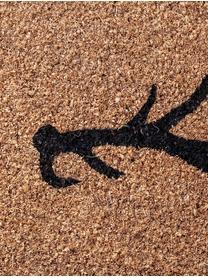 Handgewebte Fußmatte Antlers, Kokosfasern, Beige, Schwarz, 45 x 75 cm