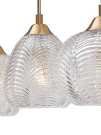 Lampada a sospensione in vetro satinato Vario, Paralume: vetro satinato, Baldacchino: alluminio rivestito, Dorato trasparente, Larg. 76 x Alt. 24 cm