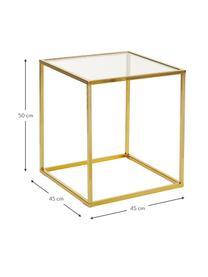 Beistelltisch Maya mit Glasplatte, Tischplatte: Sicherheitsglas, Gestell: Metall, galvanisiert, Glas transparent, Goldfarben, 45 x 50 cm