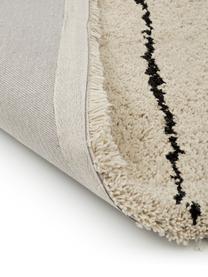 Tappeto a pelo lungo taftato a mano Dunya, Retro: 100% cotone, Beige, nero, Larg. 200 x Lung. 300 cm (taglia L)