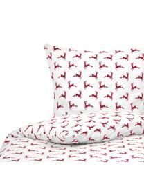 Flanell-Bettwäsche Rudolph mit Rentieren, Webart: Flanell Flanell ist ein k, Rot, Ecru, 135 x 200 cm + 1 Kissen 80 x 80 cm