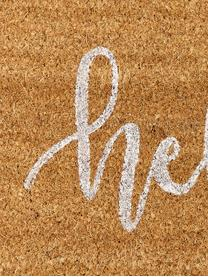 Zerbino in cocco Hello, Retro: materiale sintetico (PVC), Fondo: beige, bianco retro: nero, Larg. 40 x Lung. 60 cm