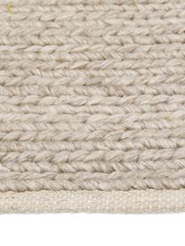 Handgewebter Wollteppich Uno in Taupe mit geflochtener Struktur, Flor: 60% Wolle, 40% Polyester, Taupe, B 200 x L 300 cm (Größe L)