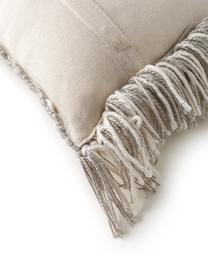 In - & Outdoorkissen Morty aus recyceltem PET mit Ethnomuster, mit Inlett, 100% Polyester (Recyceltes PET), Grau, gebrochenes Weiß, 40 x 40 cm