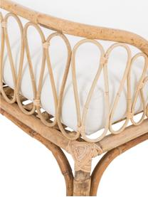 Chaise longue da esterno in bambù Blond, Struttura: bambù, Rivestimento: cotone, Legno di bambù, bianco, Larg. 185 x Prof. 78 cm