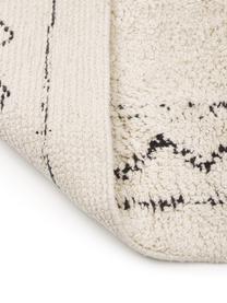Handgewebter Boho-Baumwollläufer Frame mit Fransen, 100% Baumwolle, Beige, Schwarz, 80 x 250 cm