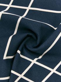 Boho-Kissenhülle Ausel in Cremeweiß/Marineblau, 100% Baumwolle, Marineblau, 30 x 50 cm